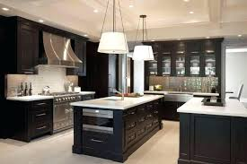 brown kitchen cabinets with white island light countertops
