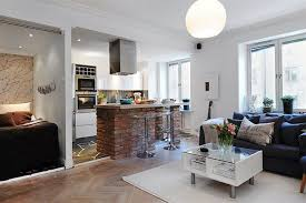 Kitchen Integrated Apartment Interior With Open Kitchen Also