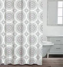 Caro Home  Cotton Shower Curtain Ornate Medallion Fabric