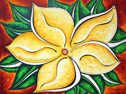 Tropical Abstract Pop Art Original Plumeria Flower Painting