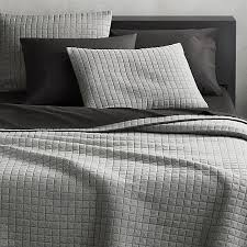 Grid Grey Cotton Jersey Bedding