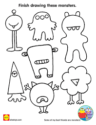 Finish Drawing These Monsters Free Printable Coloring Sheet For Kids Halloween