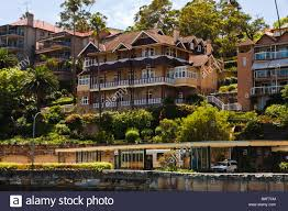 100 Mosman Houses Waterfront Houses And Bus Terminal Stock Photo