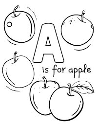 Printable A Is For Apple Coloring Page Free PDF Download At