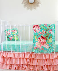 Nursery Crib Bedding Sets U003e by Teal And Coral Bedding Turquoise And Coral Emma 3pc Girls Teen