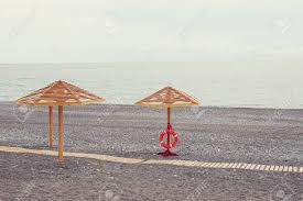 100 Wooden Parasols Parasols On The Sea Beach