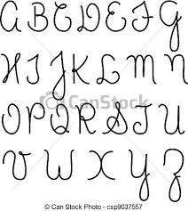 Cursive alphabet capital letters vectors illustration Search