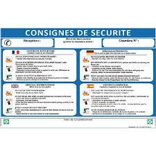 panneau de chambre panneau consignes de securite pour chambre hotel 4 langues a3
