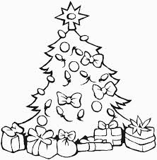 Lovely Christmas Tree With All The Ornaments And Presents On Coloring Page