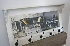garderobe spiegel holz antik weiß landhaus