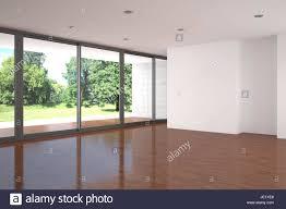 leer modernes wohnzimmer mit großen fenster und parkett