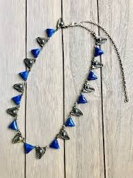 100 Art Deco Shape Vintage Necklace Unique Lapis Lazuli Cut Glass Beads