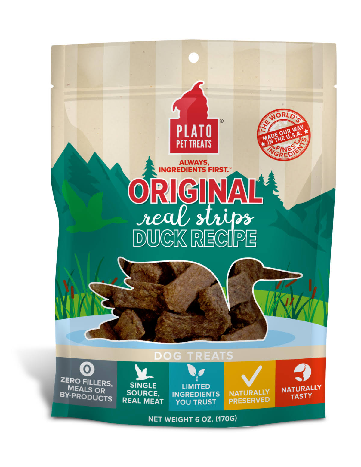 Plato Original Real Strips Duck Recipe Dog Treats, 18 oz.