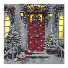 Garland Door Christmas House Scene LED Fibre Optic Canvas 40x40cm