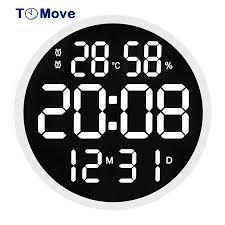 12 zoll led große anzahl digitale wanduhr moderne design temperatur und feuchtigkeit elektronische uhr wohnzimmer dekoration reloj