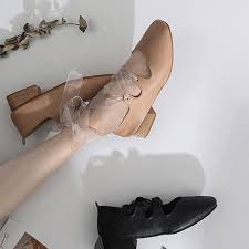 ItGirl Shop VINTAGE LEATHER LOW HEEL BALETTE POINTE LACEUP SANDALS Aesthetic Apparel Tumblr Clothes