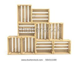 Empty Wooden Crates Arranged 3D Render Illustration Isolated On White Background