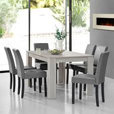 en casa esstisch weiß mit 6 stühlen hellgrau 140x90