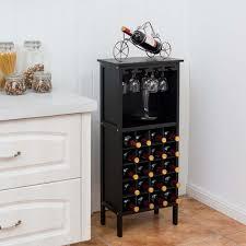 costway weinregal aus holz weinschrank fuer 20 flaschen flaschenregal mit glasaufhaenger weinstaender schwarz flaschenstaender 42 x 24 5 x 96 cm
