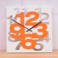 Fashion New Modern 3D Unique Creative Wall Square Clock Home Decor Orange