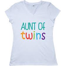 Cute Aunt Of Twins Junior VNeck TShirt White 1299 Www
