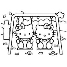 Cute Hello Kitties On A Swing Kitty Dancing Coloring Pages
