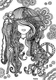 Free Printable Adult Coloring Page Female Girl Doodles Woodstock Gratis Kleurplaat Voor Volwassenen