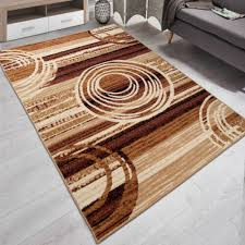 teppich modern kurzflor wohnzimmer kreis muster in beige