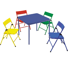 Cosco Products | Cosco Kid's 5 Piece Folding Chair And Table Set Meco Sudden Comfort Deluxe Double Padded Chair And Back 5 Piece Square White Table And Multi Color Set Cecilia Folding Tablechair Shopko Chairs At Office Max Cosco 5piece Vinyl Bridgeport 32inch Wood Card 48 Black Ding Amazoncom Mid Century Modern Gatefold Two Kids Multiple Colors Card Table Chairs Amazon Avalonmasterpro Sturdy Game Poker Walmartcom