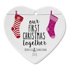 First Christmas Together Ceramic Personalized Christmas Ornaments