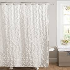 Bathroom Curved Shower Curtain Rod With Ruffle Shower Curtains