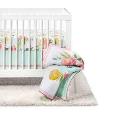 crib bedding set floral fields 4pc cloud island pink mint