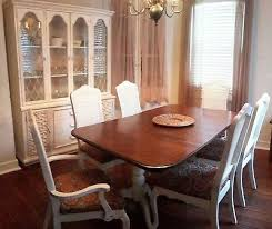 SHABBY VIN ETHAN ALLEN WOOD Cherry Dining Table 6 Cane Back Chairs Buffet Hutch