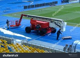 100 Truck Mounted Boom Lift Editorial Use Only Workers Preparing Stock Photo Edit