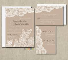 100 Personalized Custom Rustic Vintage Lace Wedding Invitations Set ANY COLOR