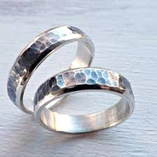 Rustic Wedding Ring Set Silver Matching Promise Rings Partially Oxidized