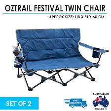 Details About 2x OZtrail Festival Twin Folding Chair Camping Picnic Beach  Low Camping Portable