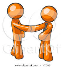 Orange Man Wearing A Tie Shaking Hands With Another Upon Agreement Of Business Deal Clipart Illustration By Leo Blanchette