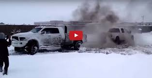 100 Truck Tug Of War FORD Vs DODGE Vs GM In The SNOW BREAKS CHAIN Speed