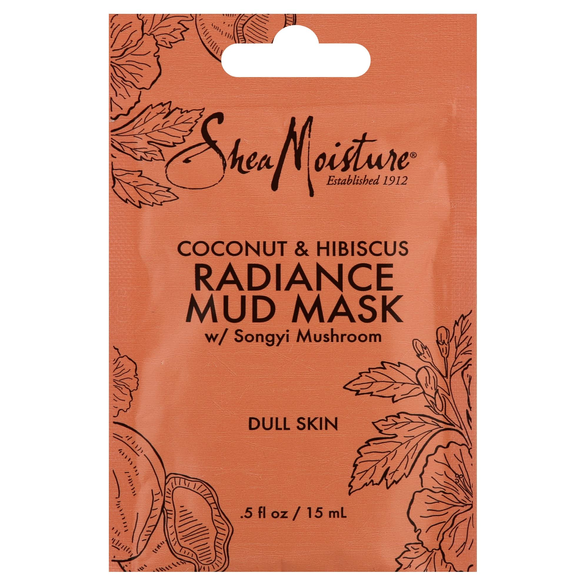 Shea Moisture Radiance Mud Mask - Coconut and Hibiscus, 0.5oz