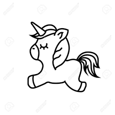 Easy Unicorn Drawing Pictures Cute Icon Vector Illustration Design Royalty Free