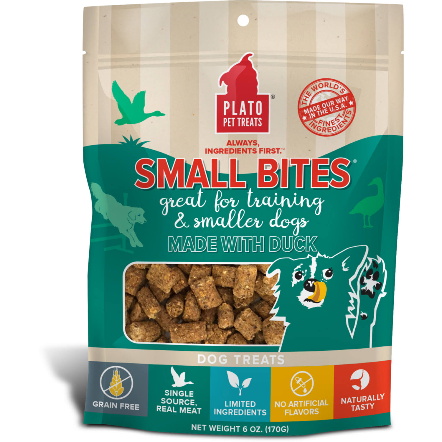 Plato Small Bites Dog Treats, 2.5 oz, Duck
