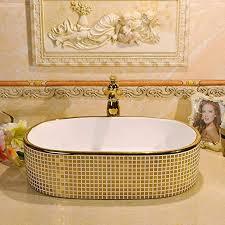 ayhuir gold mosaik jingdezhen keramik waschbecken badezimmer