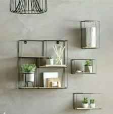 details zu wandregal set deko wohnzimmer regal holz mit metall 4 er set industriell