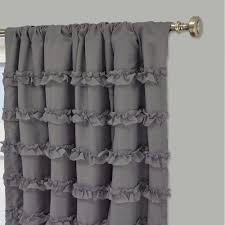 Gray Ruffle Blackout Curtains by Black Curtainffle Blackout Curtains White Perky Rayna Single Panel