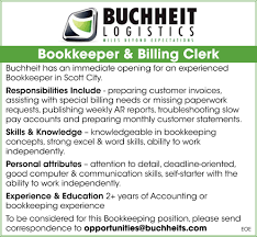 Bookkeeper & Billing Clerk, Buchheit Logistics