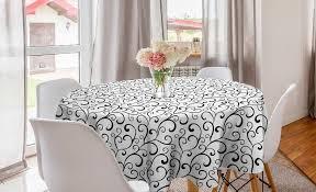 abakuhaus tischdecke kreis tischdecke abdeckung für esszimmer küche dekoration weiß curlicue bio strudel kunst kaufen otto
