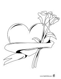 Heart Roses Bunch Coloring Page Color Online Print