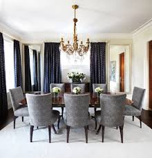 Navy Blue Curtains Dining Room Traditional With White Molding Dark Wood Sideboard