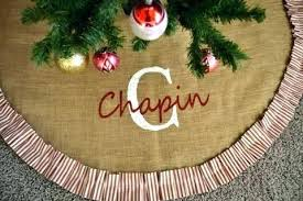 Monogrammed Tree Skirt Red And White Vintage Style Ticking Personalized